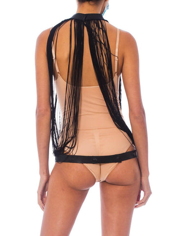 MORPHEW COLLECTION Black Fringe & Leather Sexy Convertible Top