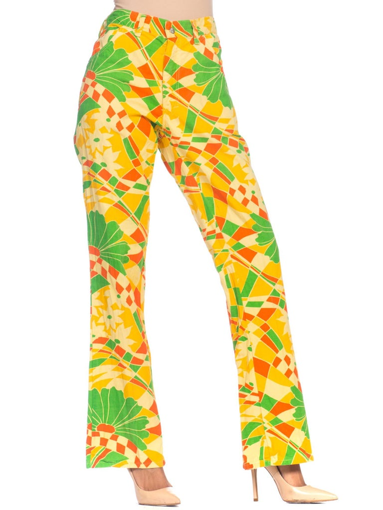 1960S Yellow Psychedelic Cotton Pants