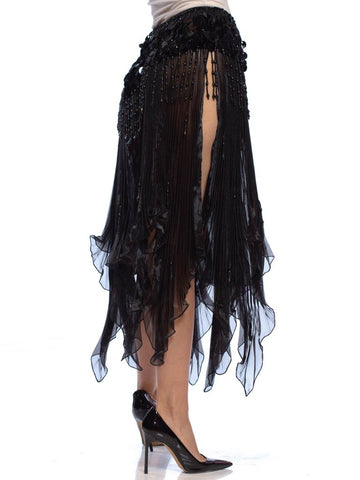 1980S Black Polyester Pleated Organza Skirt With Beaded Fringe