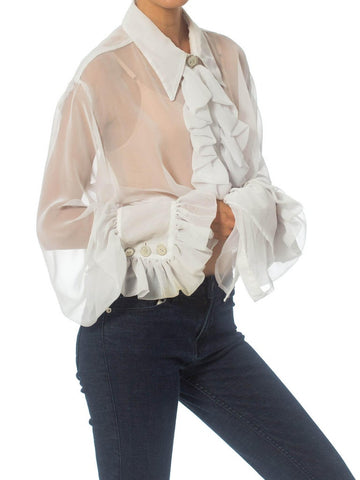 1990S White Polyester Chiffon Sheer Ruffled Poet's Blouse