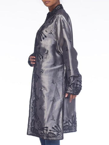 1980S Black & Silver Poly Blend Lamé Duster Jacket With 18Th Century Style Beadwork