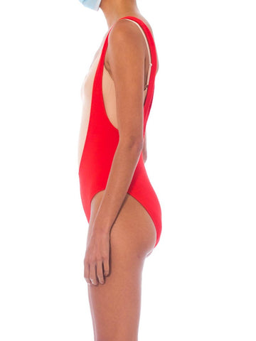 1980S Orange Terry Cloth Deep V Swimsuit Bodysuit
