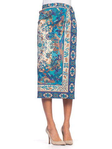 1970S Blue  Multicolored Cotton Indian Paisley Scenic Print Wrap Skirt