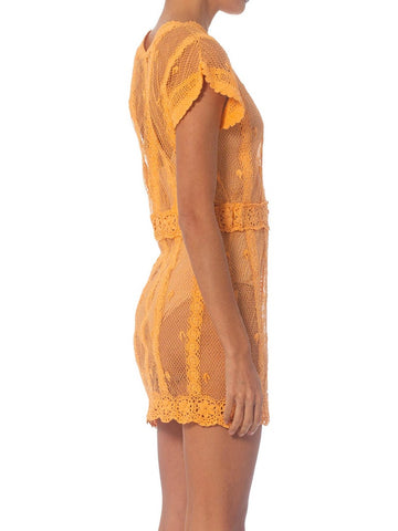 1980S Coral Floral Cotton Hand Crochet Short Sleeve Mini Dress