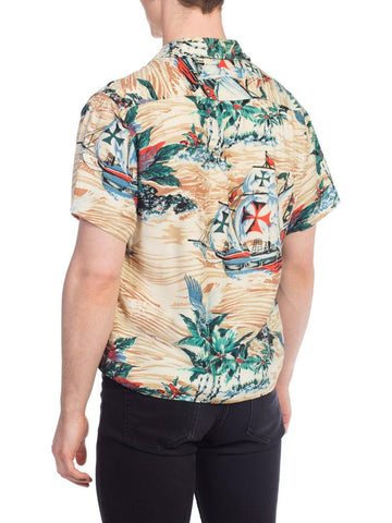 1950S Rayon Men's Hawaiian Pirate Ship Print Short Sleeve Shirt