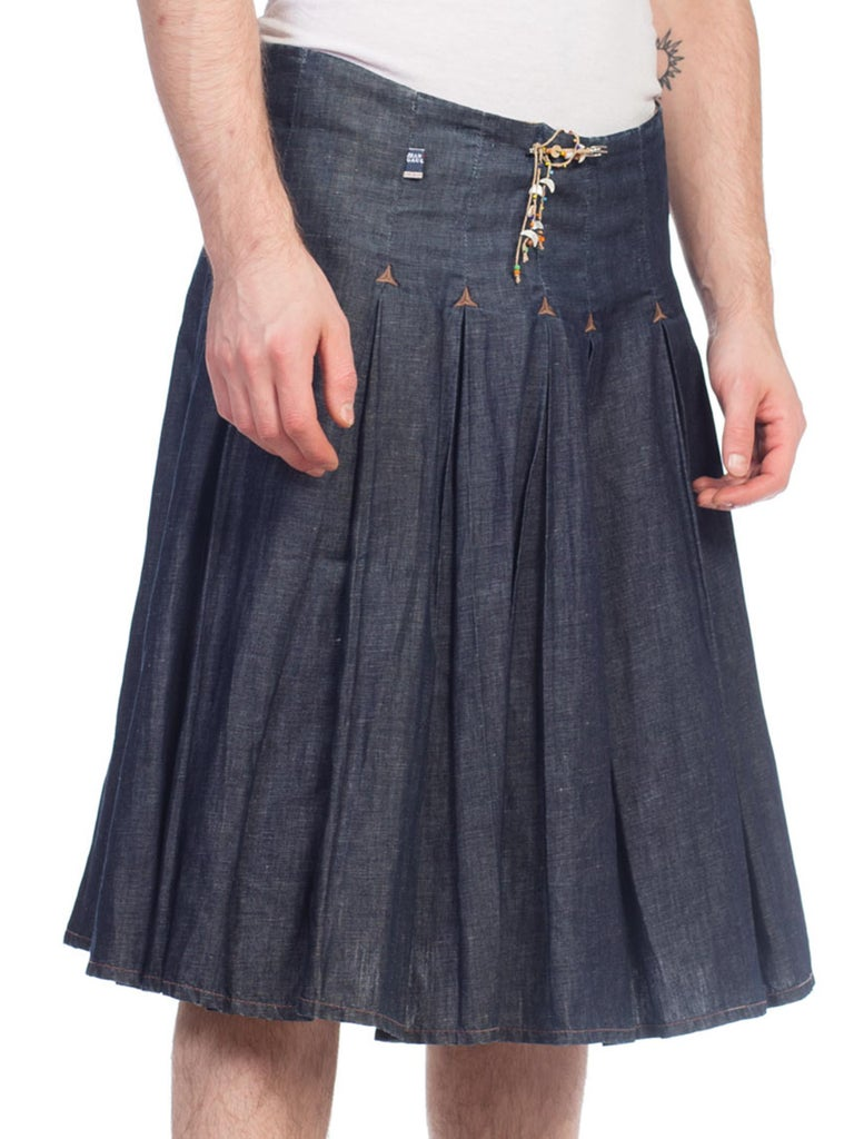 1990S JEAN PAUL GAULTIER Cotton Denim Men's JPG Kilt Skirt