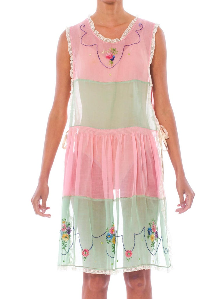 1920S Baby Pink & Green Hand Embroidered Cotton Pinafore Apron  Dress