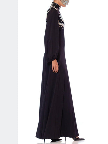 1970S Black Polyester Jersey Psycadellic Beaded Gown Reportedly From The Cher Show