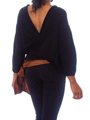 1980S Gianfranco Ferre Black Wool Knit Ribbed Wrap Sweater Top With Silk Taffeta Bow