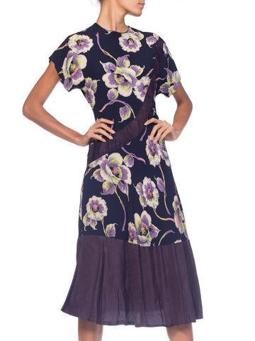 1940S Navy, Lime Green & Purple Rayon Floral Printed  Dress With Taffeta Hem