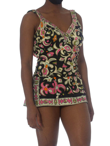 1960S Poly Blend Printed One Piece Swimsuit With Attached Skort, C Cups
