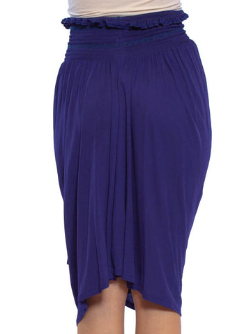 1990S KENZO Purple Blue Viscose Jersey Wrap Skirt With Smocked Waist