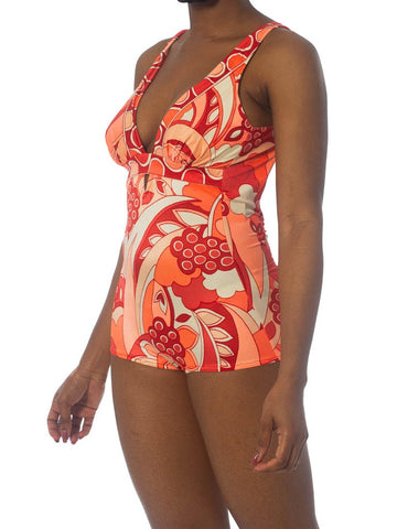 1970S Coral Psychedelic Poly/Lycra Stretch  Swimsuit XL