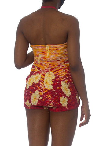 "1940S Rockabilly ""Miss Hawaii"" Sunset Tropical Swimsuit XL"