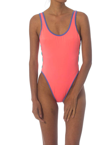 1980S Neon Pastel Backless One Piece Swimsuit With Side Cut Outs