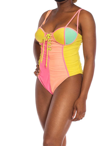 1980S Poly/Lycra Spandex Neon Pink & Yellow Lace-Up Front One Piece Swimsuit XL
