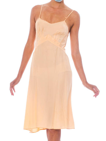 1940S Peach Bias Cut Rayon Slip Dress With Elastic Side Panels For Fit