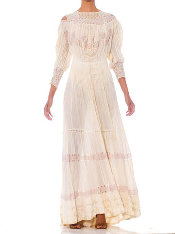 1900S Cream & Pink Silk Cotton Formal Edwardian Lace Tea Dress With Blouse Front Train