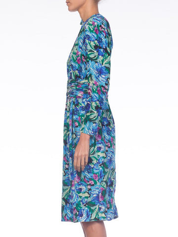 1980S Emanuel Ungaro Style Blue Floral Silk Jacquard Long Sleeve Dress