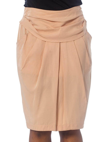 1980S BYBLOS Blush Pink Silk Faille Skirt With Draped Waist & Pockets