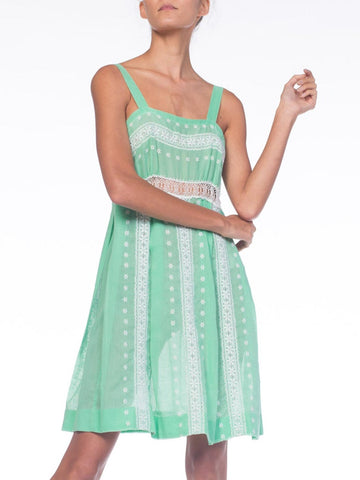 1960S Mint Green Cotton Blend Dress With Eyelet Lace Style Embroidery