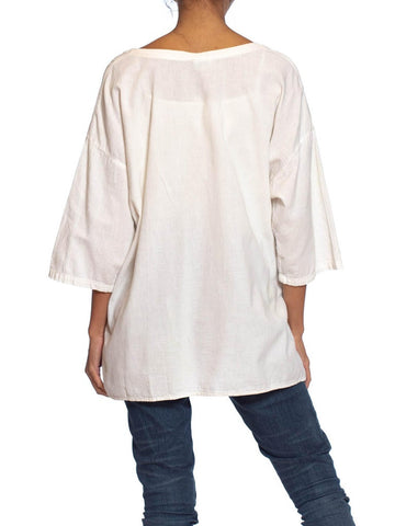 1980S White Cotton Woven Oversized  T-Shirt With 3D Circles