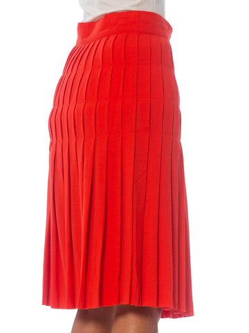 1990S ESCADA Salmon Pink Wool Crepe Skirt