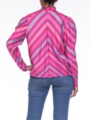 1970S Pink  & Purple Silk Taffeta Bias Cut Chevron Ruffled Blouse