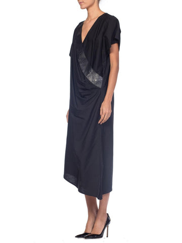 1980S Genny Black Cotton Oversized Straight Cut Dress With Draped Leather Panel, Made In Italy