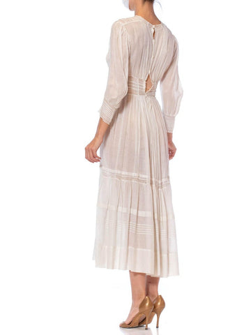 Edwardian White Cotton Voile Midi Length Tea Dress With Greek Key Lace & Long Sleeves