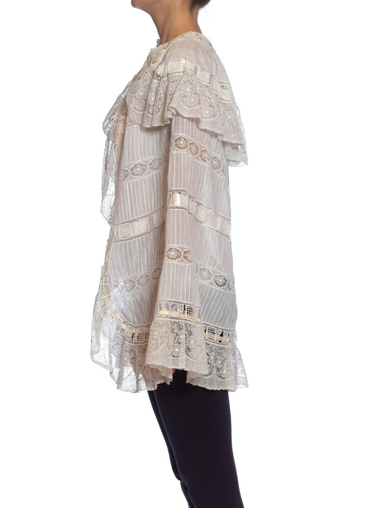 Victorian White Cotton Voile & Lace Cape Entirely Pin-Tucked By Hand From Paris