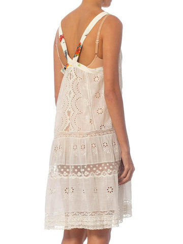 Morphew Collection White Organic Cotton Victorian Eyelet Lace Dress With Vintage Japanese Butterfly Trim