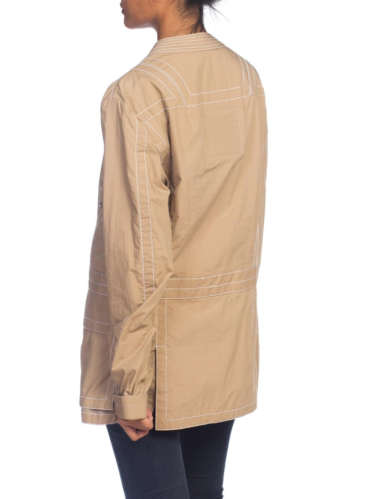 2000S DIRK BIKKEMBERGS Khaki Cotton Blend Utility Pocket Jacket With Contrast Topstitching