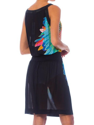 1970S Black Polyester Jersey Native American Feather & Bead Work Printed Dress Made In Italy