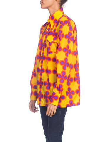 1970S  Yellow & Pink Nylon Psychedelic Op-Art Men's Shirt