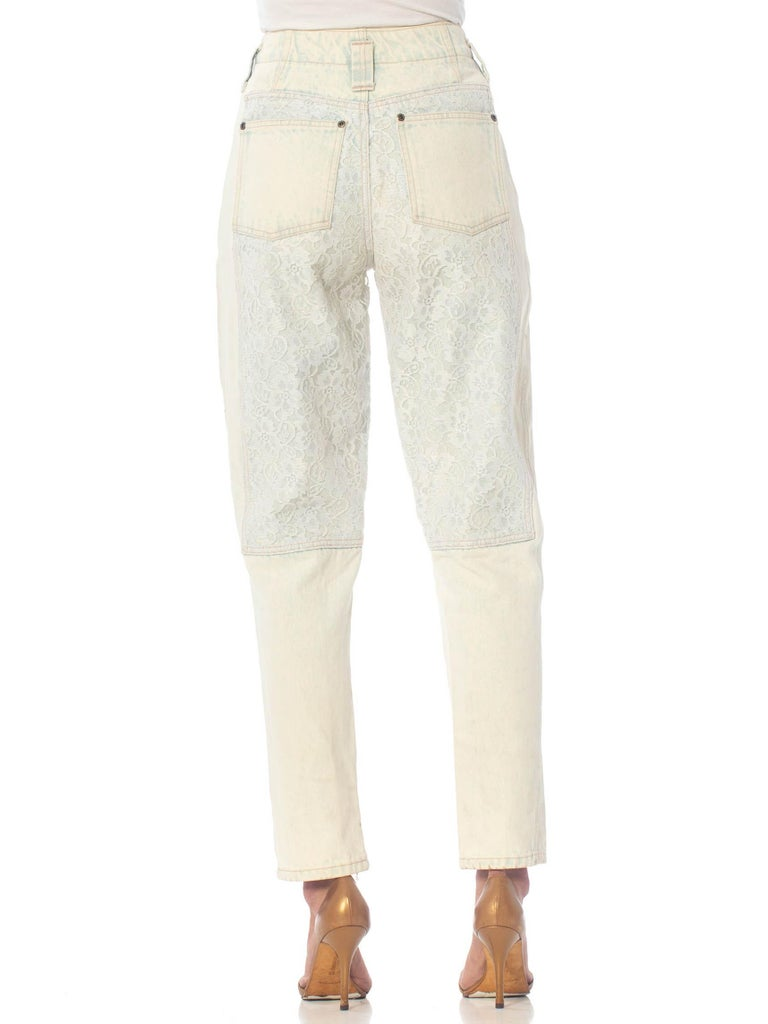 1980S  Acid Wash Jeans With Lace Panels