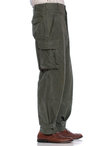 1950S Olive Green Cotton Men's French Military Utility Pants With Cargo Pockets
