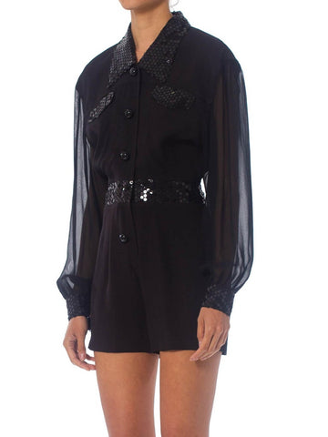 1980S Disco Sequin Shorts With Sheer Chiffon Sleeves  Romper