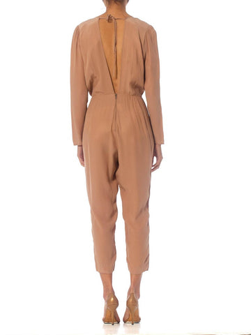 1980S Draped Rayon Jumpsuit Lined In Satin