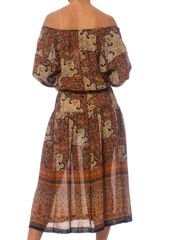 1970S Rayon French Exotic Persian Printed Boho Dress