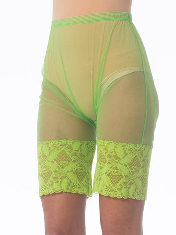 1990S Gianni Versace Lime Green Nylon Net Sheer Bike Shorts With Lace Hem