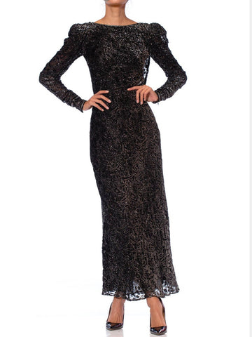 1980S MARY MCFADDEN Black & Silver Silk Lurex Burnout Velvet Bias Backless Long Sleeved Gown