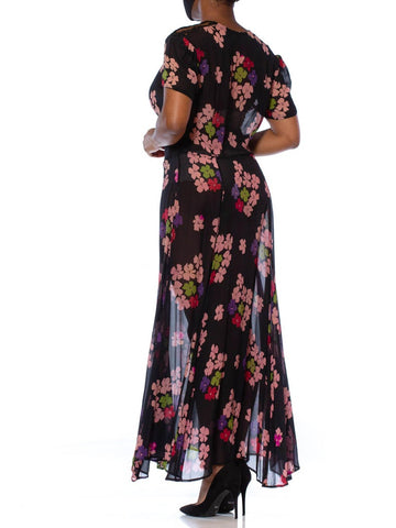 1930S Black Silk Chiffon Pink Floral Dress With Lace Shoulders & Short Sleeves L