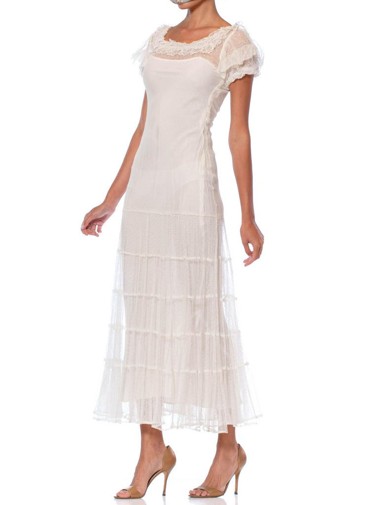 1930S Ivory Cotton Pointelle Net Maxi Dress With Rayon Bias Lining