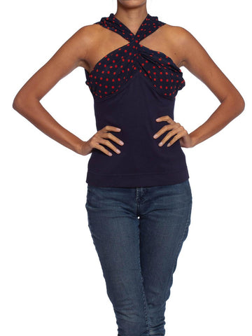 1990S MOSCHINO Navy Cotton Knit & Polka Dot Silk Twist Front Top , 1991 Runway Sample