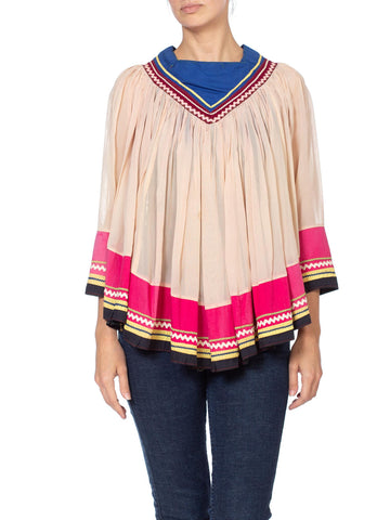 1940s Seminole Indian Native American Ric-Rac Boho Poncho Top