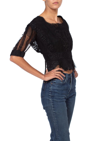 Edwardian Black Silk Net & Lace Blouse With Floral Embroidery
