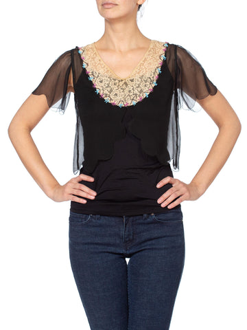 1920s Silk Chiffon and Lace Beaded Top