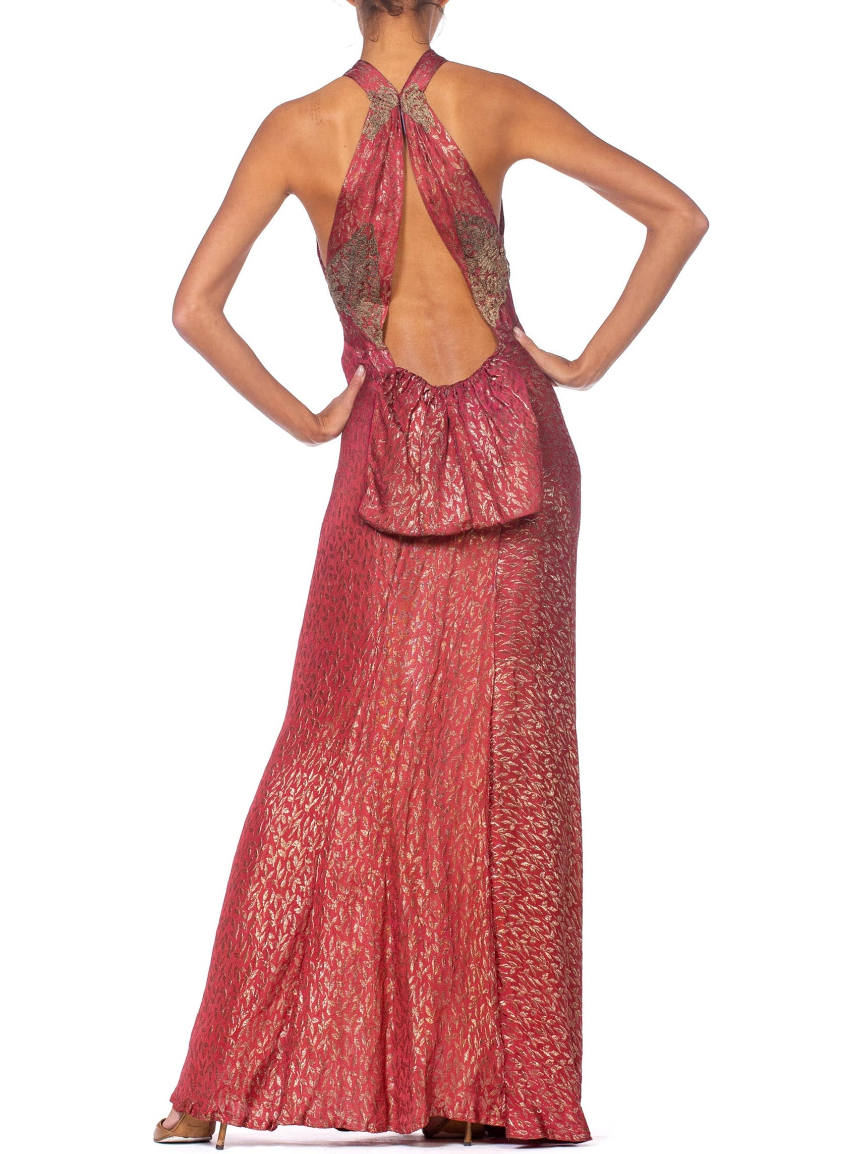 Morphew Collection Raspberry Pink Bias Cut Antique Silk Lamé  Reworked 1930S Gown