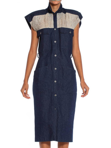 1980S Cotton Denim Sleeveless Shirt Dress With Silver Lurex Fringe